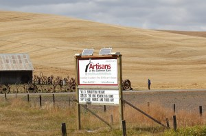 The Dahmen Barn sign you see on highway 195:  when going from Pullman toward Lewiston, it is on the right, about 10-15 minutes from Pullman